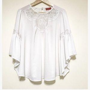 Oscar de la renta. Sheer white blouse. Medium